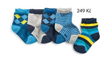 Dětské ponožky, jednobarevné, s kosočtverci a proužkované, 5 párů