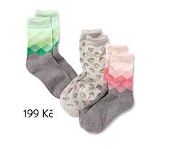 Dámské ponožky, tmavě šedé s melírem, s kosočtverci a světle šedé s melírem a puntíky, 3 páry