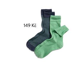 Pánské ponožky, zelené a modré s proužkem a melírem, 2 ks