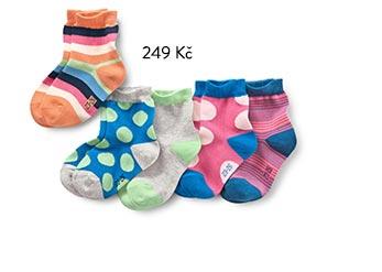 Dětské ponožky, jednobarevné, s puntíky a proužkované, 5 párů