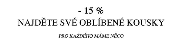 Sleva 15 % na Oblíbené kousky při nákupu nad 1 250 Kč