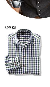 Kostkovaná košile, kombinace zelené, modré a bílé
