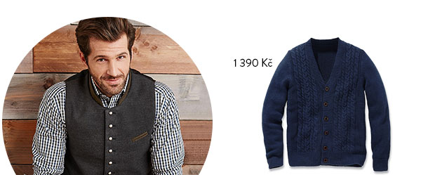 Pletený kabátek s copánkovým vzorem