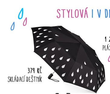 Skládací automatický deštník s efektem měnění barev