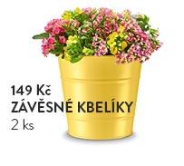 Závěsné kbelíky na květiny, 2 ks, žluté