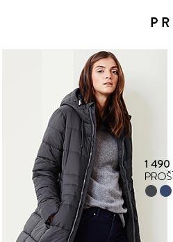 Prošívaný kabát šedý