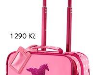 Dětský kufr na kolečkách růžový