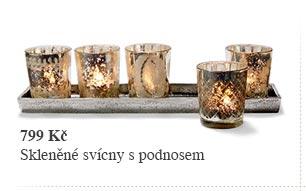 Skleněné svícny na čajové svíčky s podnosem, 5 ks