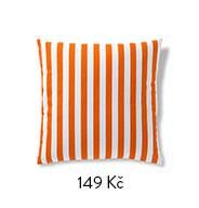 Povlak na polštářek oranžový proužek