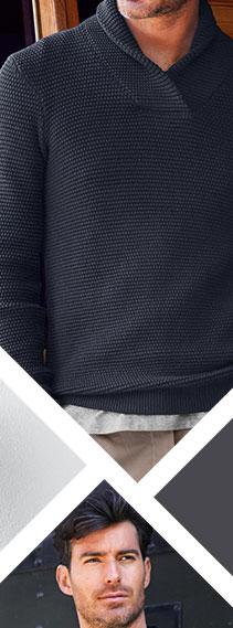 Pletený pulovr s šálovým límcem