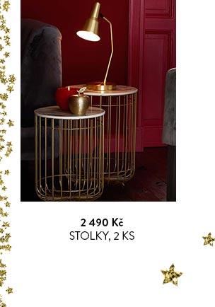 Odkládací stolky s drátěnou konstrukcí a mramorovou dekorativní deskou, 2 ks