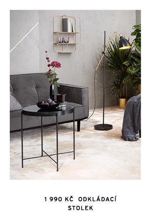 Odkládací stolek ze skla a kovu